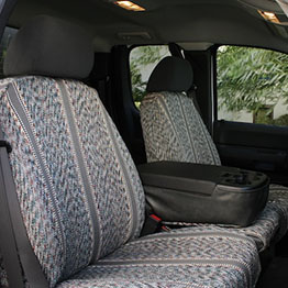 gray saddle blankets in car