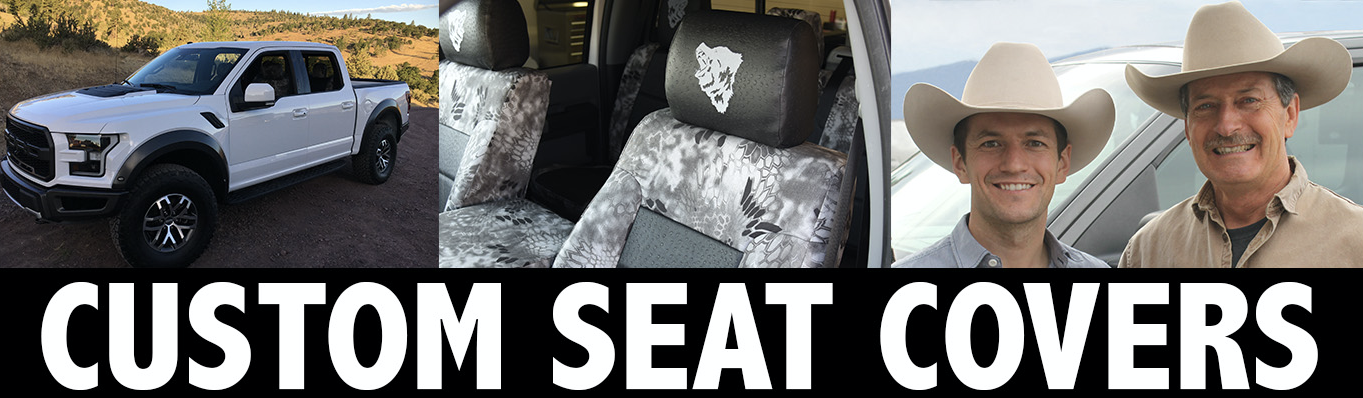 Custom seat covers with two cowboys and Ford F-150 Raptor and kryptek raid camo seat covers