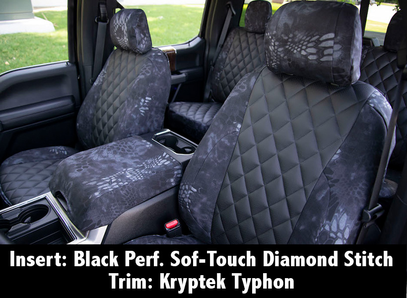 Black Perf. Sof-Touch Diamond Stitch insert and Kryptek Typhon trim