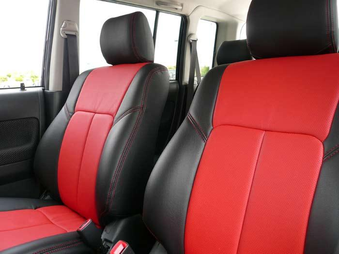 Red and Black Leather Custom Seat Cover